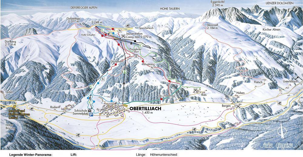 Pisteplan Skiområde Obertilliach / Golzentipp - Lesachtal