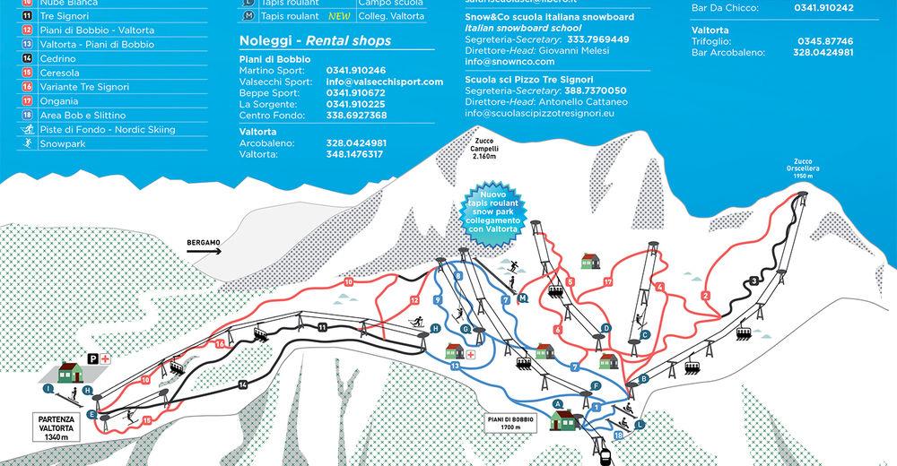 Piste map Ski resort Barzio - Piani di Bobbio