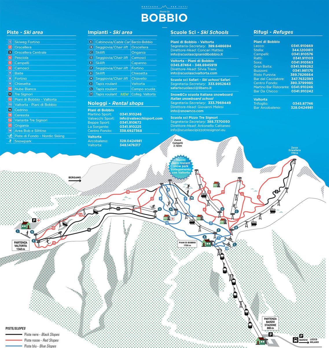 BERGFEX: Mapa stoków Barzio - Piani di Bobbio - Mapa ...