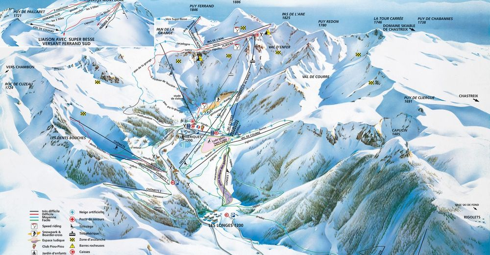 Plan de piste Station de ski Le Mont Dore - Massif du Sancy