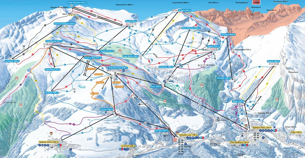 Mapa zjazdoviek Lyžiarske stredisko Flims Laax Falera