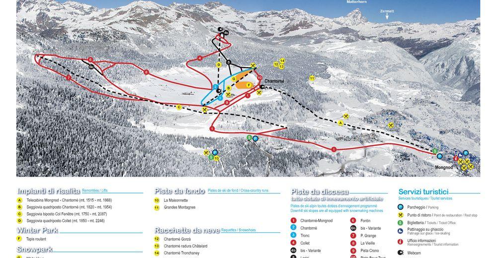 Plán sjezdovky Lyžařská oblast Torgnon