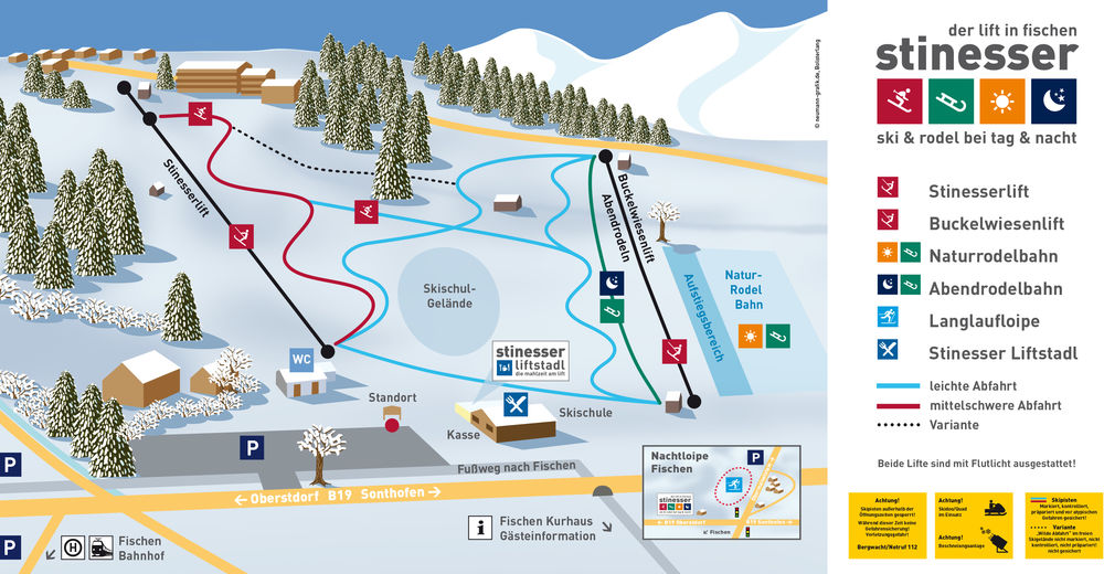Piste map Ski resort Fischen