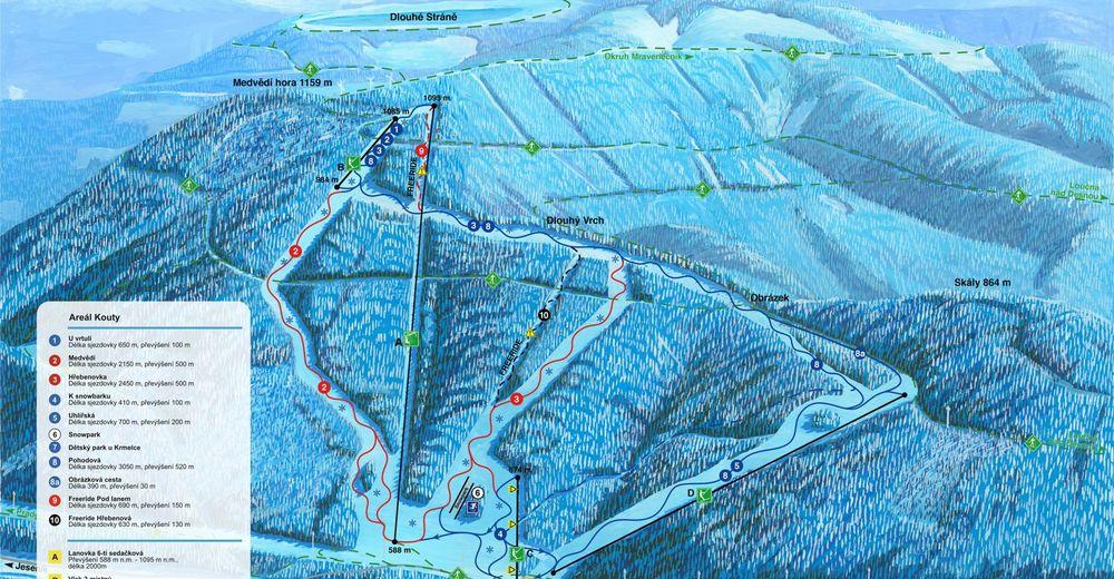 Plán sjezdovky Lyžařská oblast Kouty