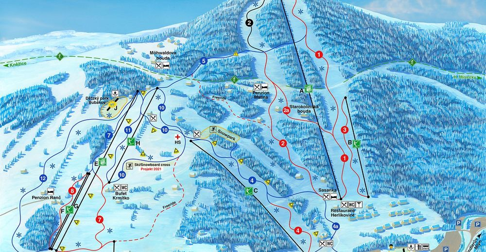 Pistenplan Skigebiet Herlíkovice & Bubakov