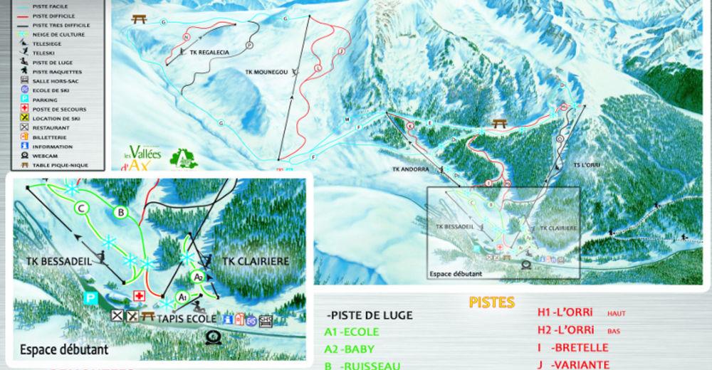 Pistenplan Skigebiet Ascou Pailhères