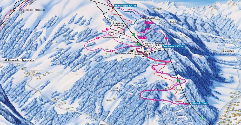 Piste map Ski resort Chur - Brambrüesch