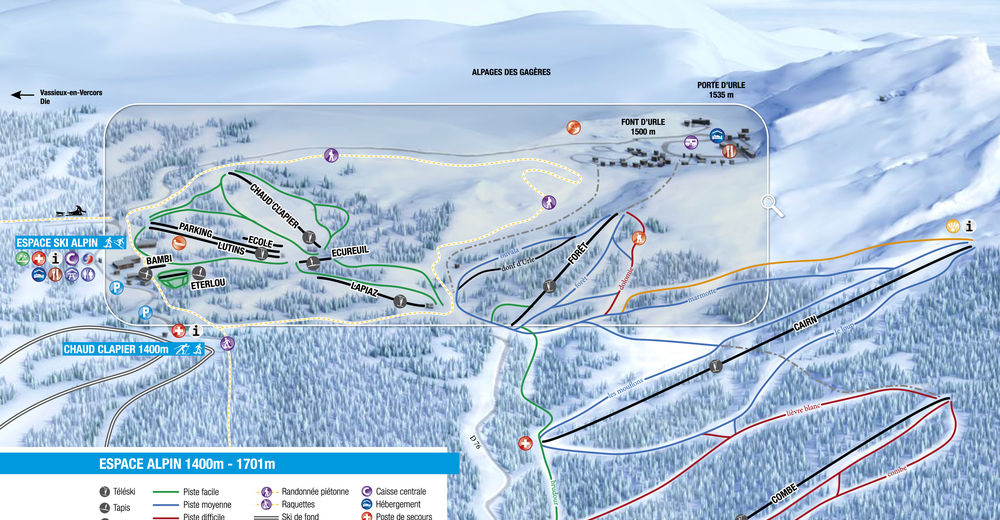 Pistenplan Skigebiet Font d'Urle Chaud Clapier