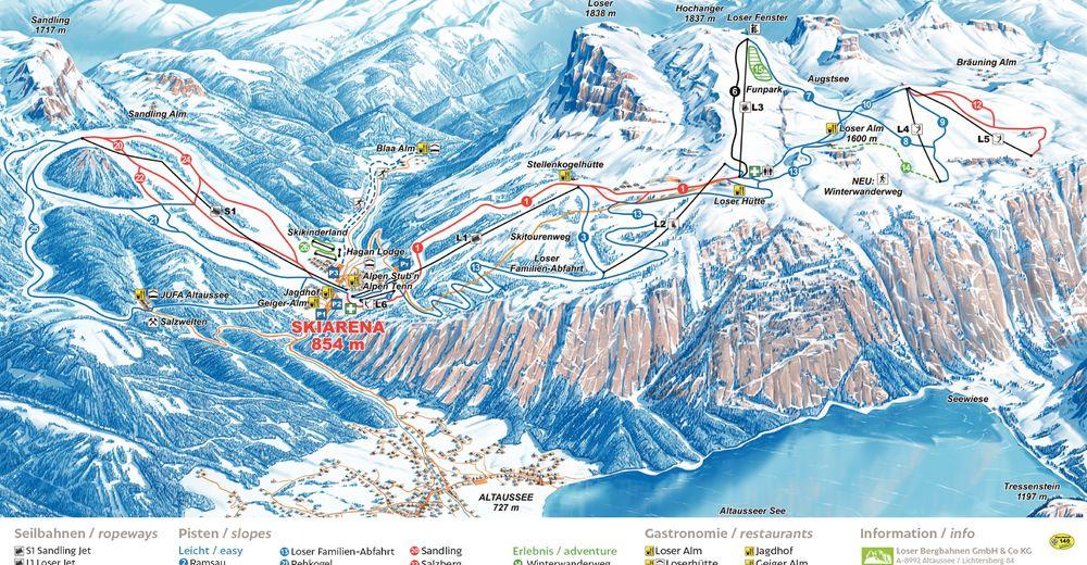 Načrt smučarske proge Smučišče Loser - Altaussee - Schneebären
