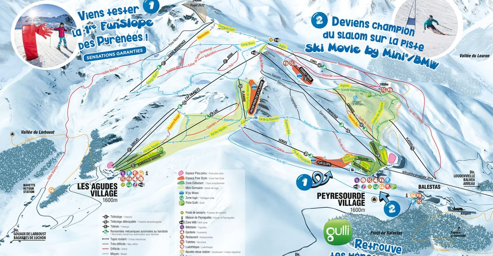 Piste map Ski resort Peyragudes
