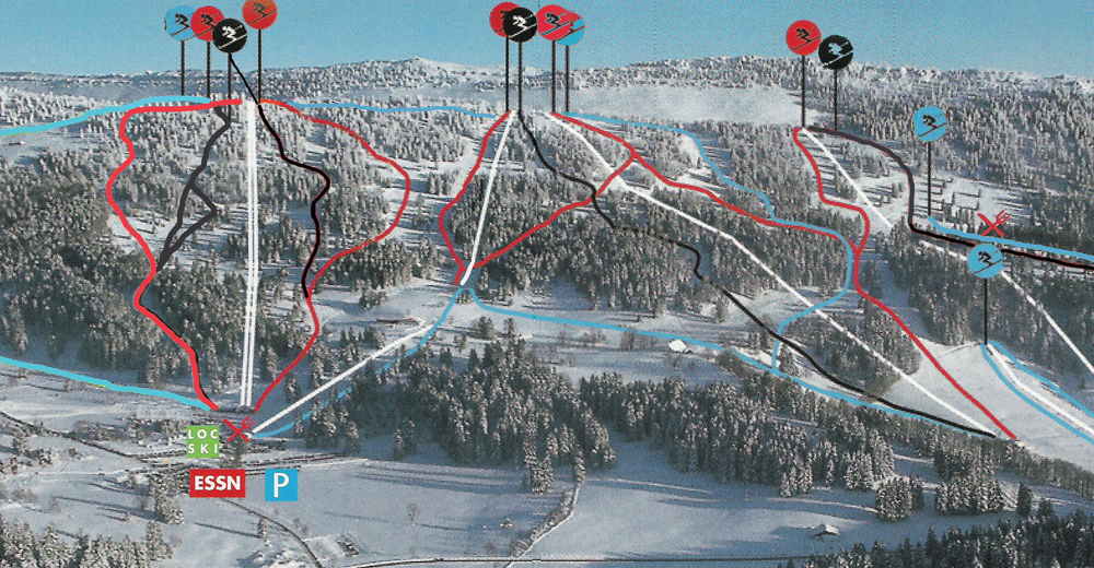 Piste map Ski resort Les Bugnenets - Savagnières