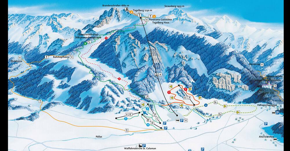 Mapa zjazdoviek Lyžiarske stredisko Schwangau - Tegelberg