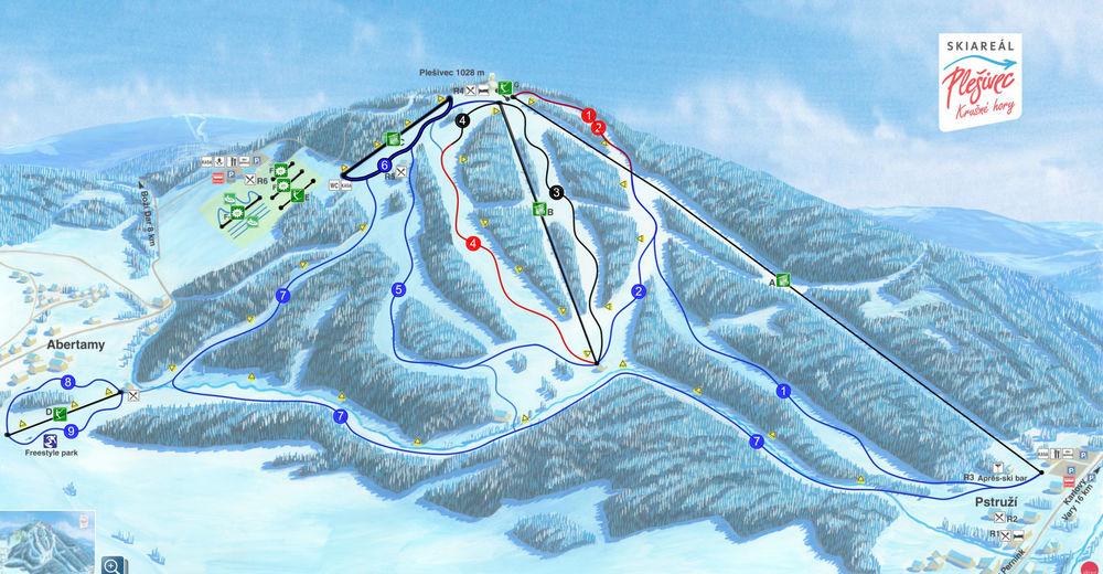 Plan skijaških staza Skijaško područje Plešivec - Abertamy