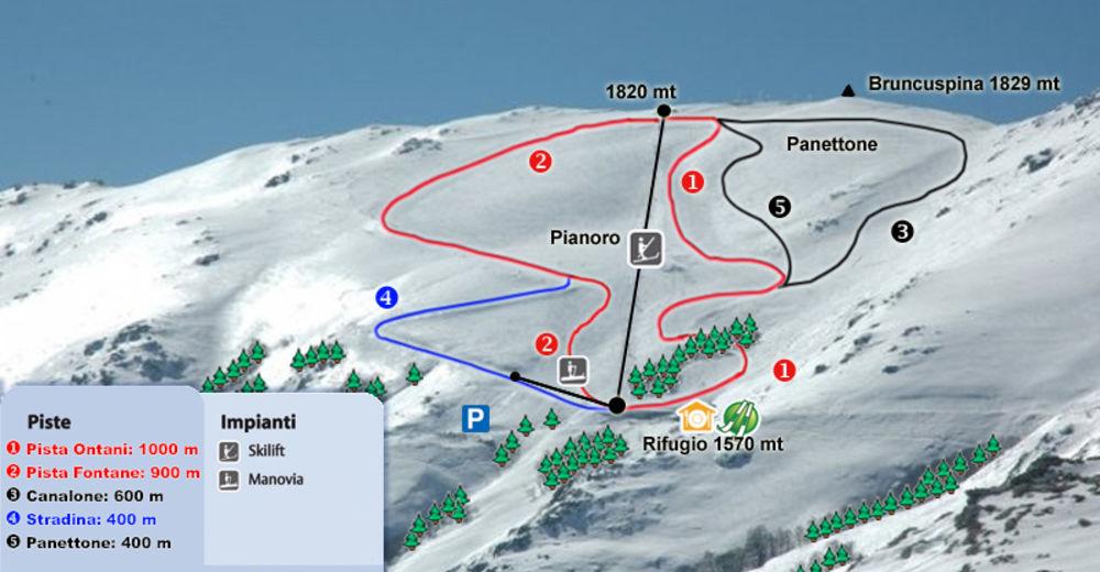 Pistenplan Skigebiet Bruncu Spina