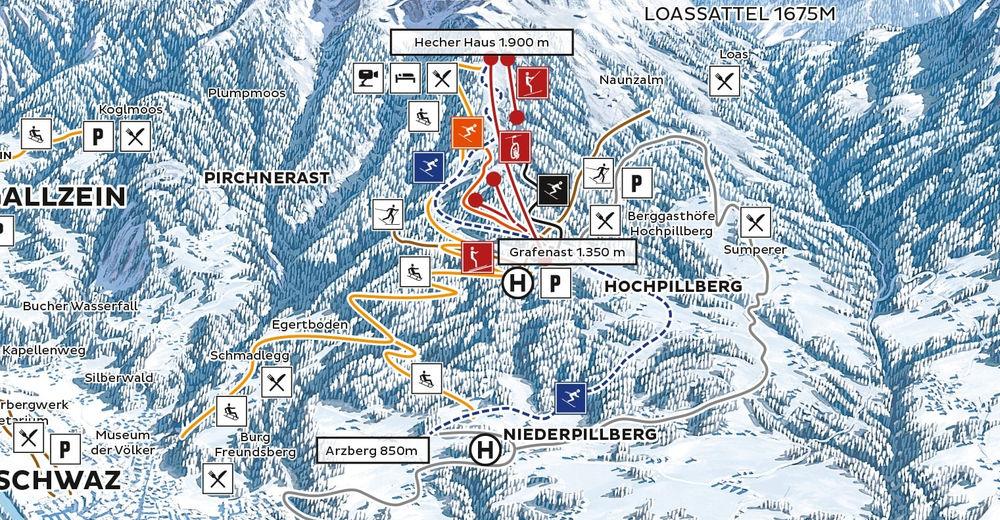 Pisteplan Skigebied Schwaz-Pill - Kellerjochbahn