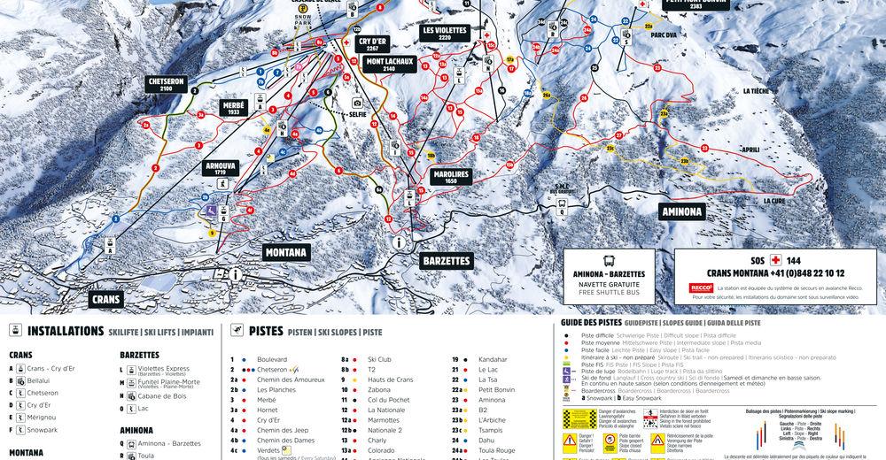 Mapa zjazdoviek Lyžiarske stredisko Crans Montana - Aminona