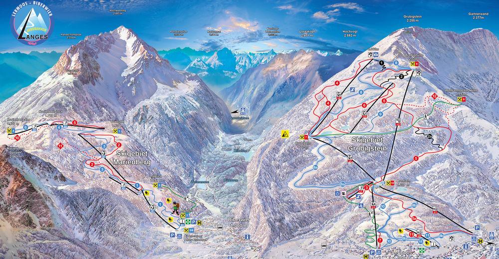 Plan skijaških staza Skijaško područje Lermoos - Grubigsteinbahnen