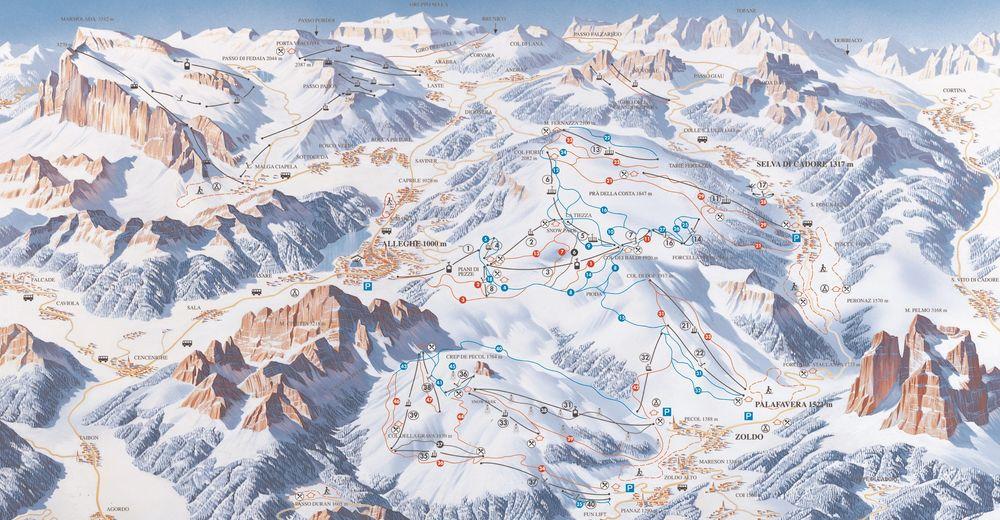 Pisteplan Skiområde Civetta - Alleghe - Selva di Cadore - Val di Zoldo