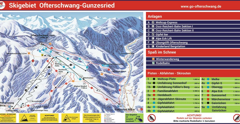 План лыжни Лыжный район Ofterschwang - Gunzesried