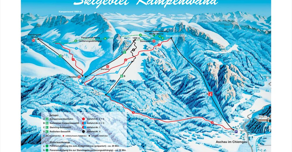 Planul pistelor Zonă de schi Kampenwandseilbahn / Aschau im Chiemgau