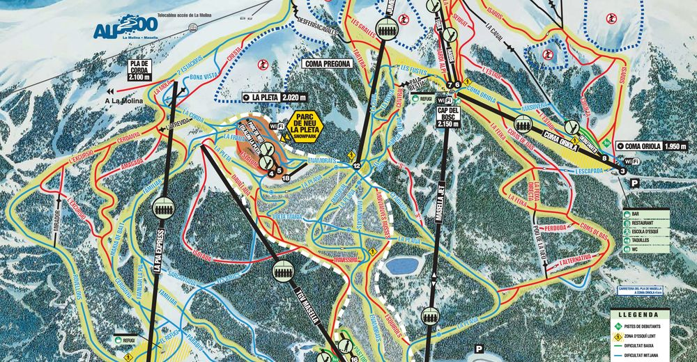 Piste map Ski resort Masella / Alp 2500