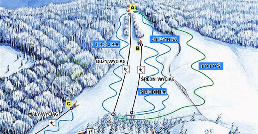 Planul pistelor Zonă de schi Kamianna