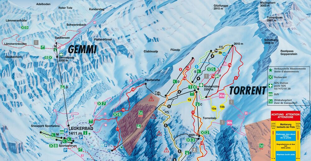 Piste map Ski resort Leukerbad