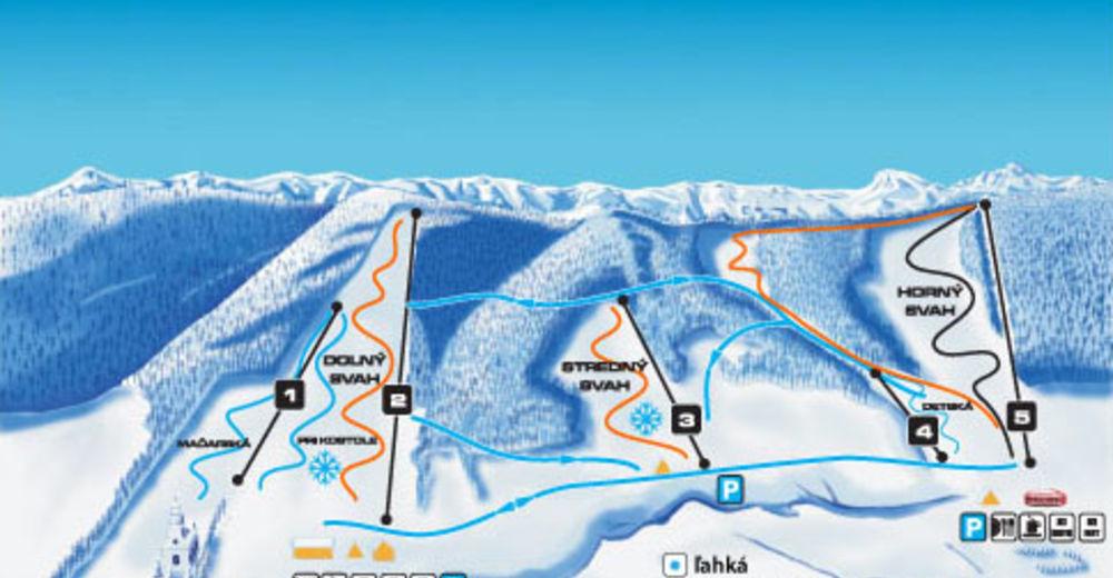 Plan de piste Station de ski Regetovka
