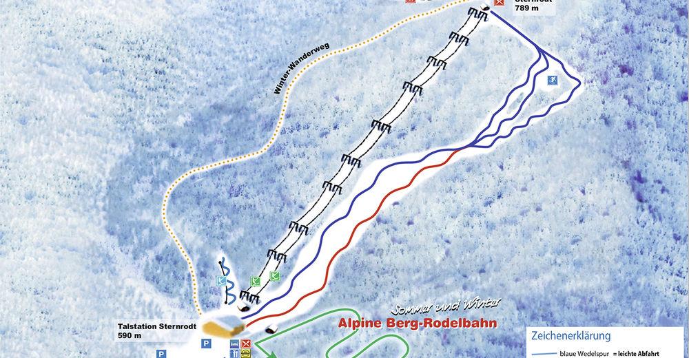 Pisteplan Skigebied Skisportzentrum Sternrodt Bruchhausen a. d. Steinen / Olsberg