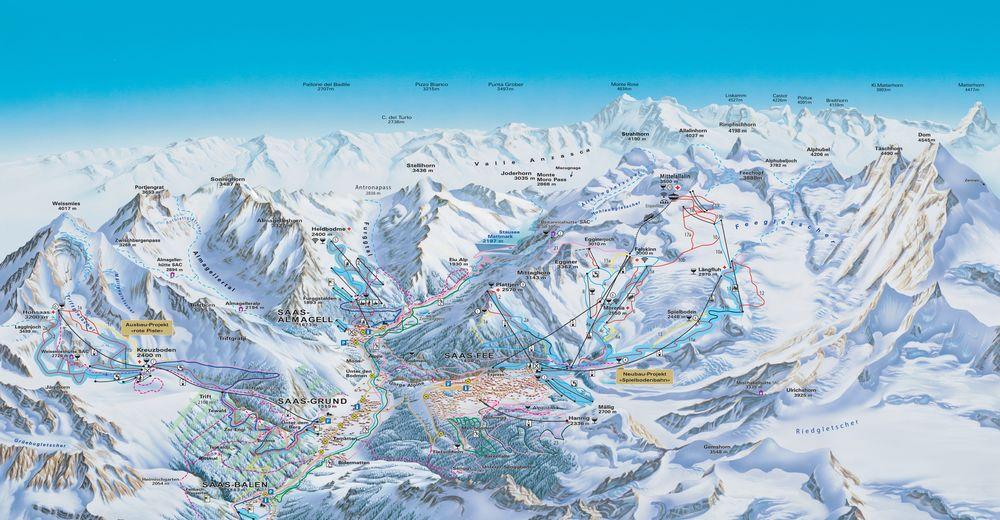 Pisteplan Skigebied Saas Grund - Hohsaas