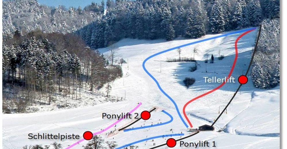 Planul pistelor Zonă de schi Steig - Bäretswil