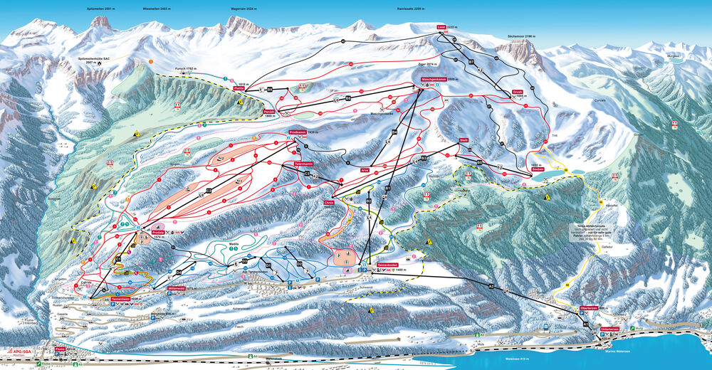 Pistenplan Skigebiet Flumserberg