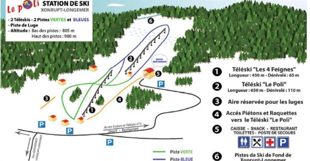Planul pistelor Zonă de schi Le Poli / Xonrupt-Longemer