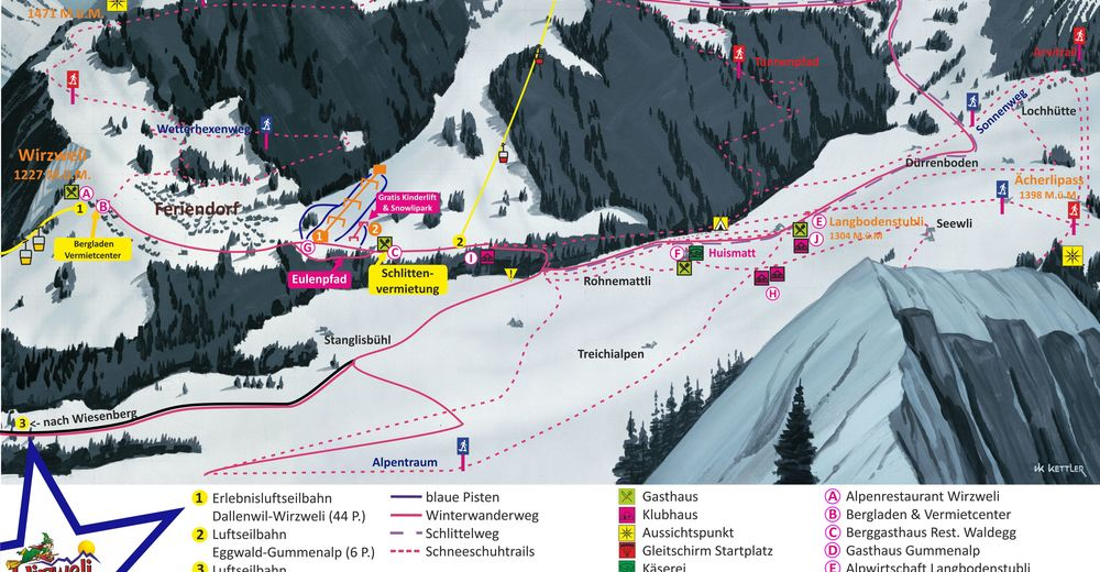 Piste map Ski resort Dallenwil - Wirzweli