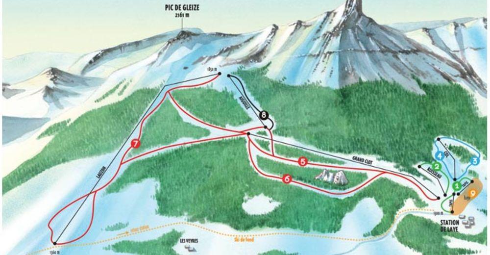 Plan skijaških staza Skijaško područje Laye