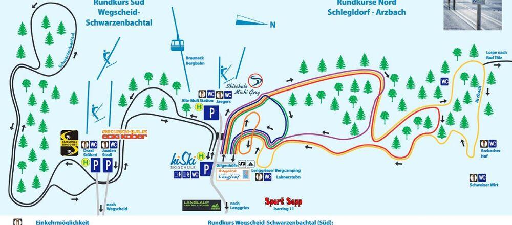Loipenplan Lenggries mit Wintersportgebiet Brauneck