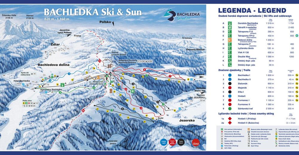 Pistplan Skidområde Bachledka Ski & Sun