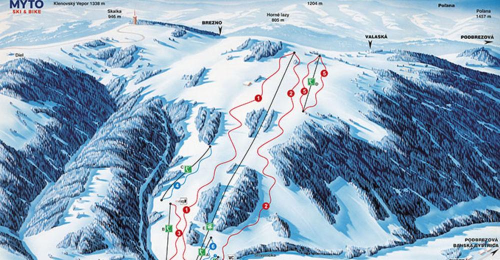 Plan skijaških staza Skijaško područje Mýto pod Ďumbierom