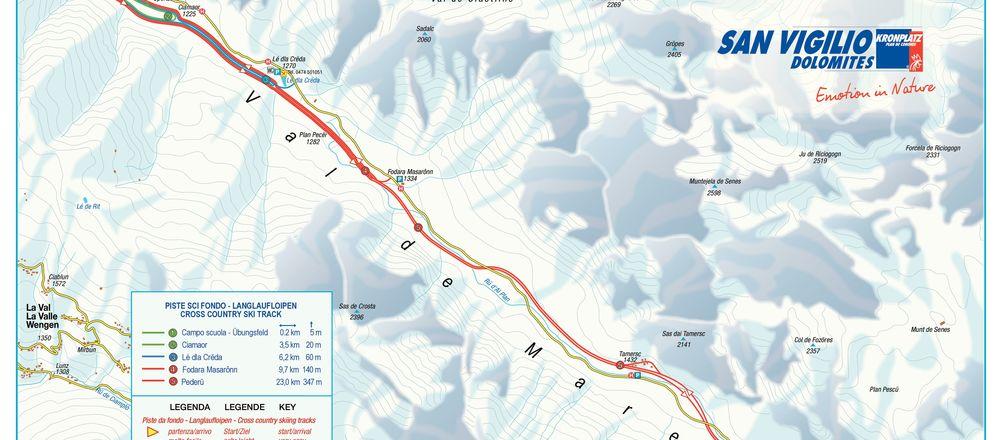 Loipenplan San Vigilio - Dolomites / Kronplatz