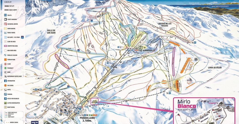 Piste map Ski resort Sierra Nevada / Pradollano