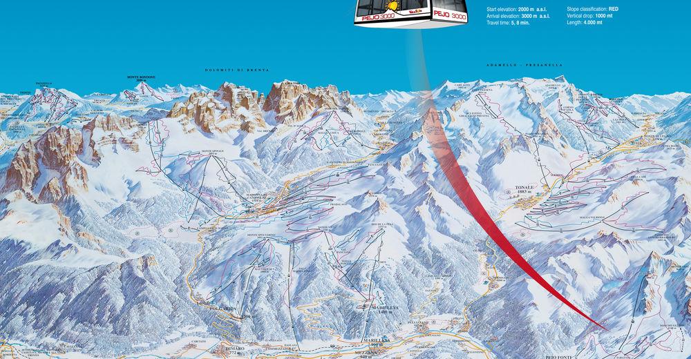 Plan skijaških staza Skijaško područje Pejo 3000 / Val di Sole