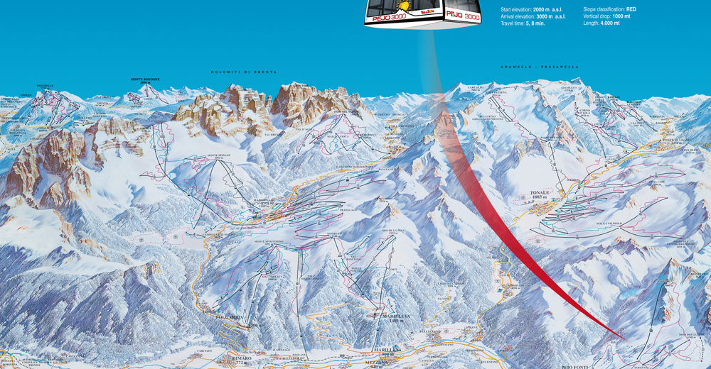 Pistenplan Skigebiet Pejo 3000 / Val di Sole