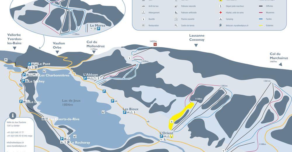 Plan skijaških staza Skijaško područje Vallée de Joux