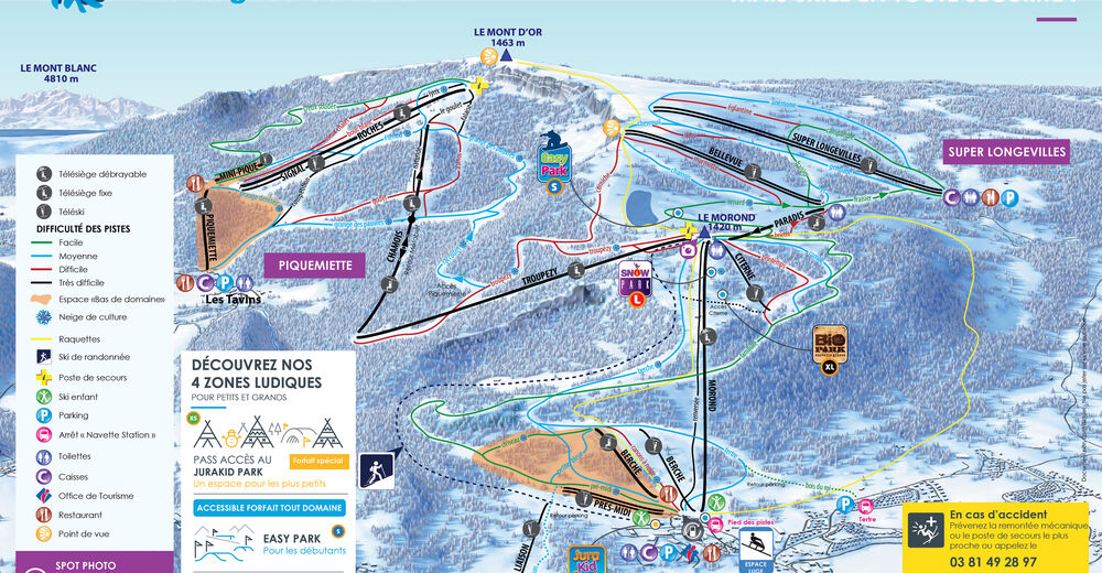 Planul pistelor Zonă de schi Métabief