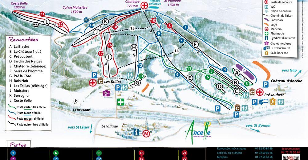 Pistenplan Skigebiet Ancelle