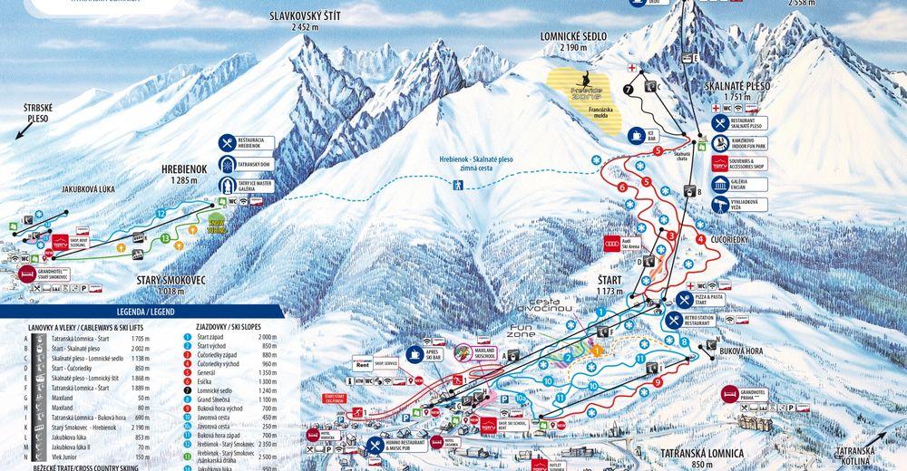Mapa stoków Ośrodek narciarski Tatranská Lomnica