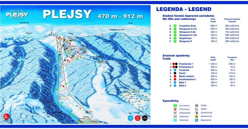 Pistenplan Skigebiet Relax Center Plejsy / Krompachy