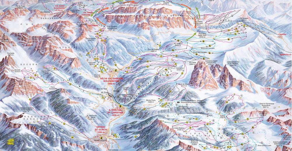 Pistenplan Skigebiet Dolomites Val Gardena / Gröden - Wolkenstein