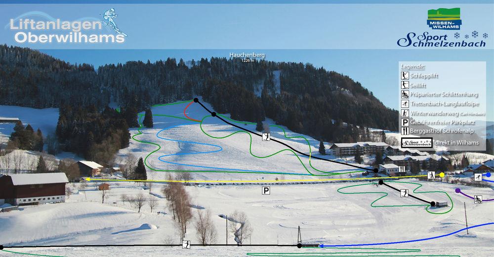 Mapa stoków Ośrodek narciarski Liftanlagen Oberwilhams
