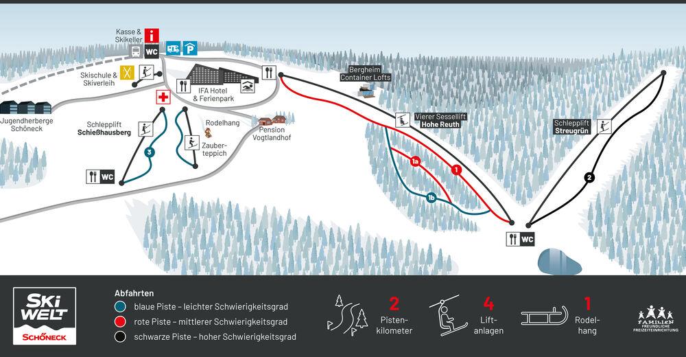 Pistenplan Skigebiet Schöneck - Hohe Reuth